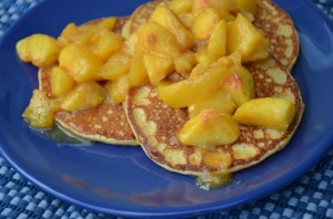Oatmeal Cottage Pancakes with Peaches