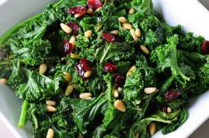 kale with pinenuts and cranberries